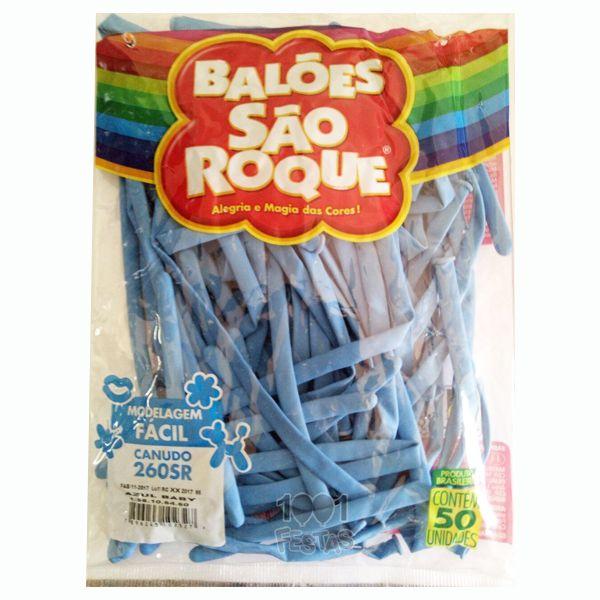Balão Canudo Azul Baby 50 unid São Roque