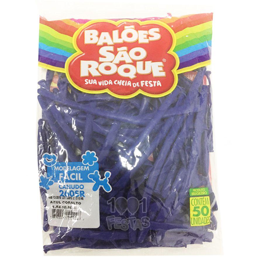 Balão Canudo Azul Cobalto 50 unid São Roque