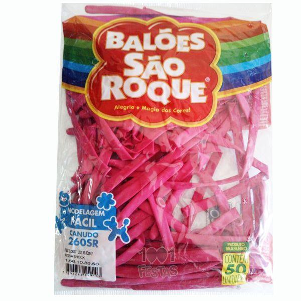 Balão Canudo Rosa Shock 50 unid São Roque