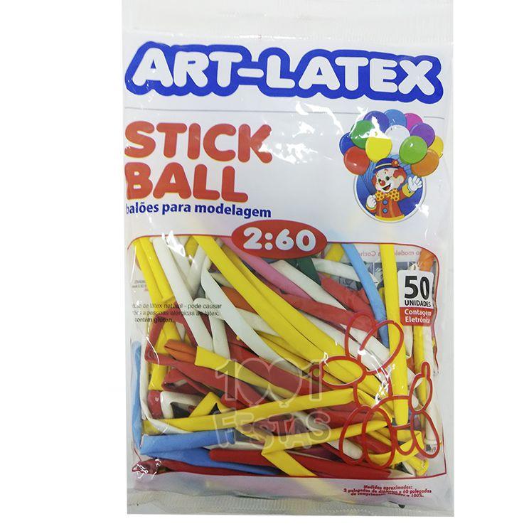 Balão Canudo Sortido N260  50 unid Art Latex