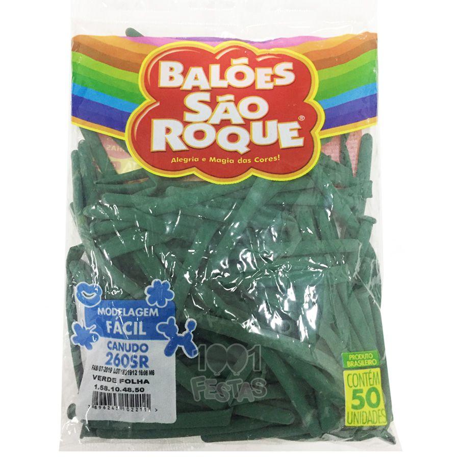 Balão Canudo Verde Folha 50 unid São Roque
