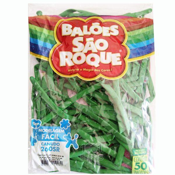 Balão Canudo Verde Maçã 50 unid São Roque