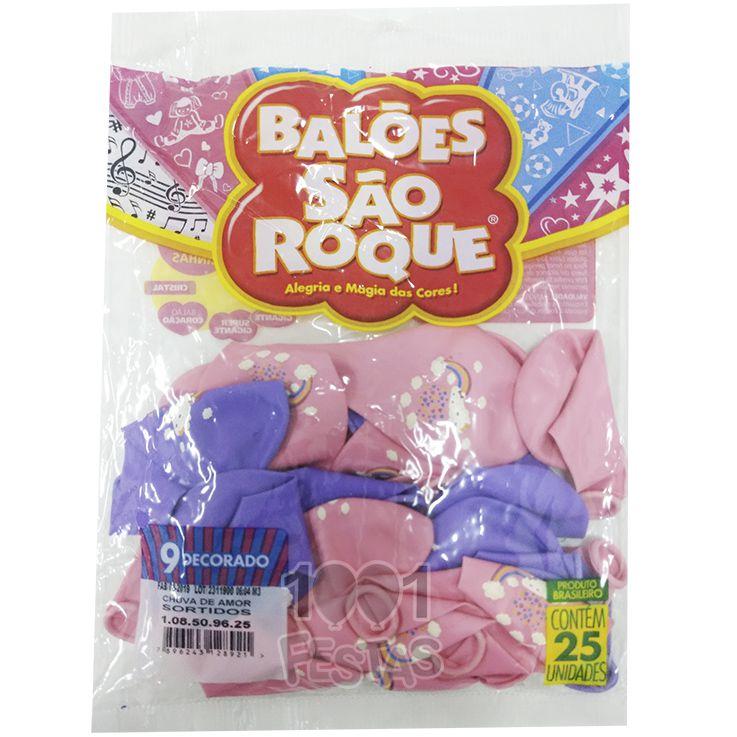 Balão Chuva de Amor Sortidos N9 25 unid São Roque