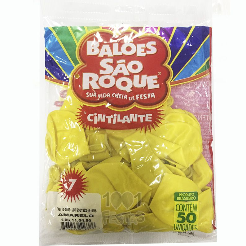 Balão Cintilante Amarelo N07 50 unid São Roque