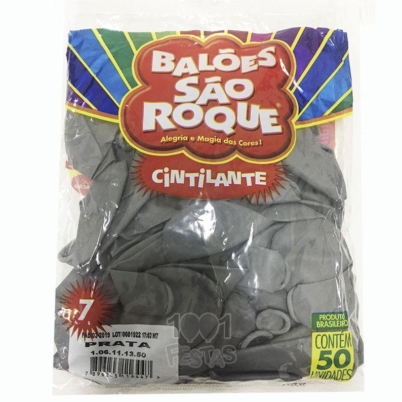 Balão Cintilante Prata N07 50 unid São Roque