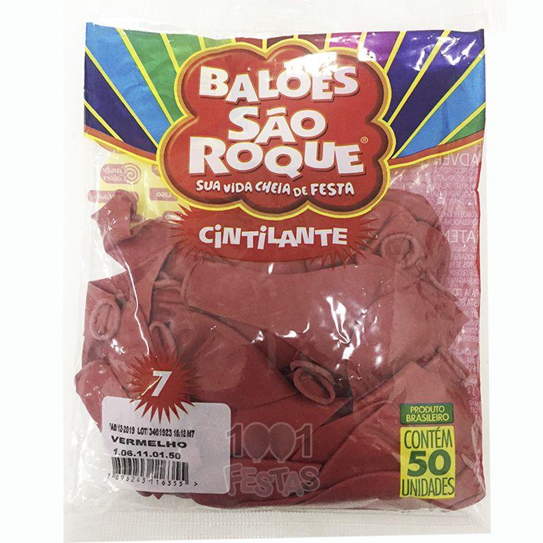 Balão Cintilante Vermelho N07 50 unid São Roque