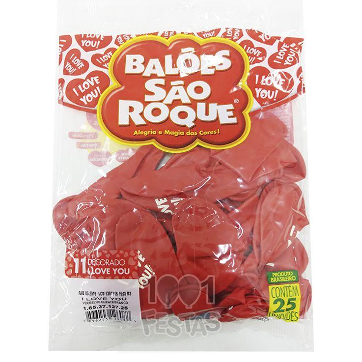 Balão  Coração I Love You N11 25 unid São Roque