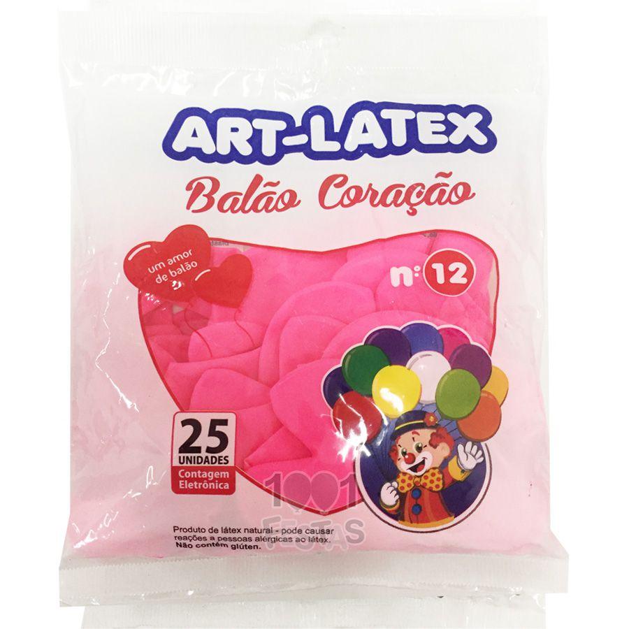 Balão Coração Rosa N12 25 Unid Art Latex