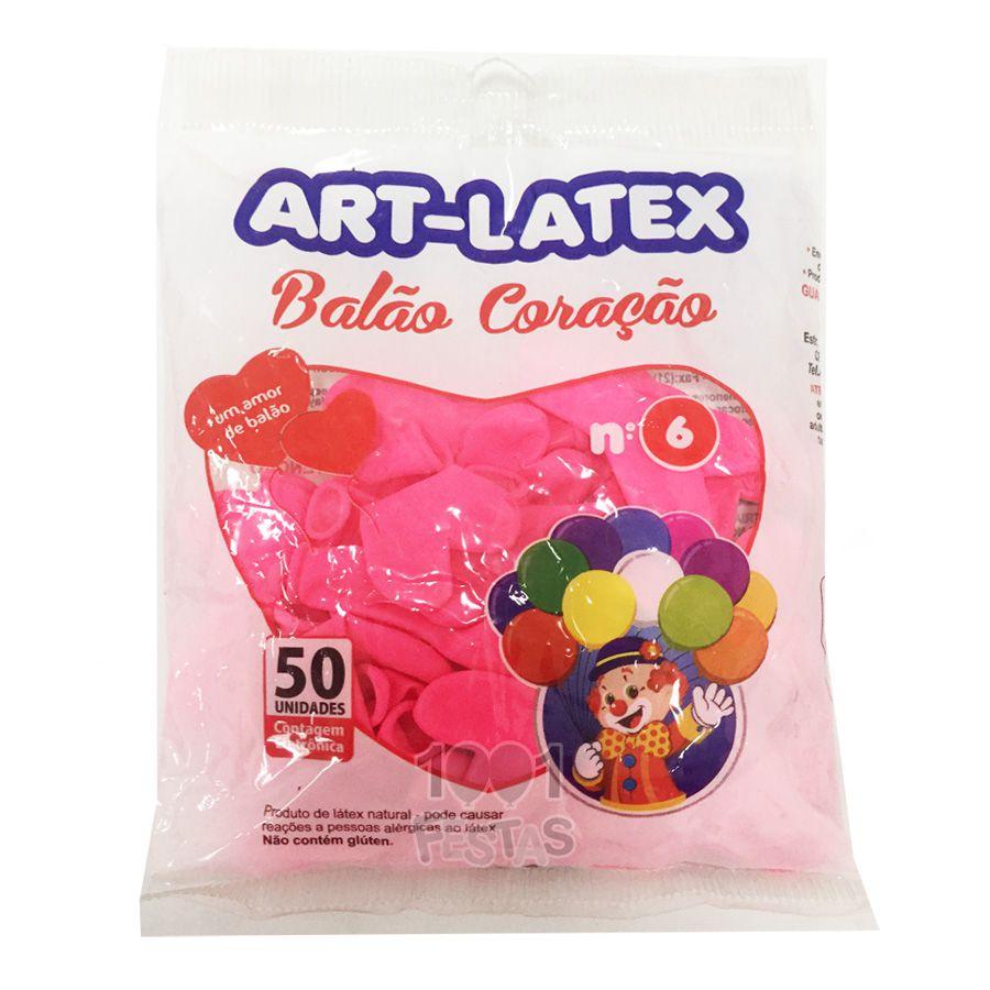 Balão Coração Rosa Pink N06 50 unid Art Latex