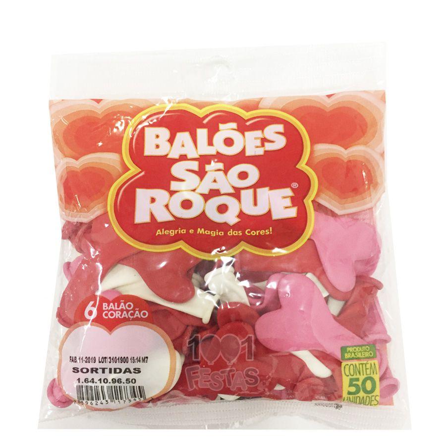 Balão Coração Sortido N06 50 unid São Roque