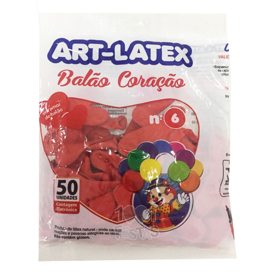 Balão Coração Vermelho N06 50 unid Art Latex