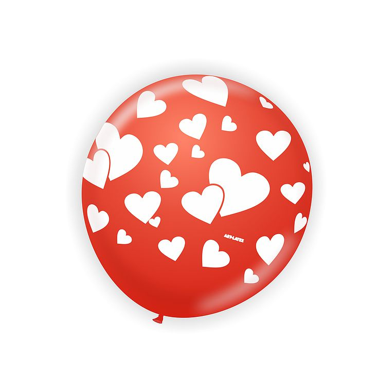 Balão Vermelho Coração Branco Love N11 25 Unid Art Latex