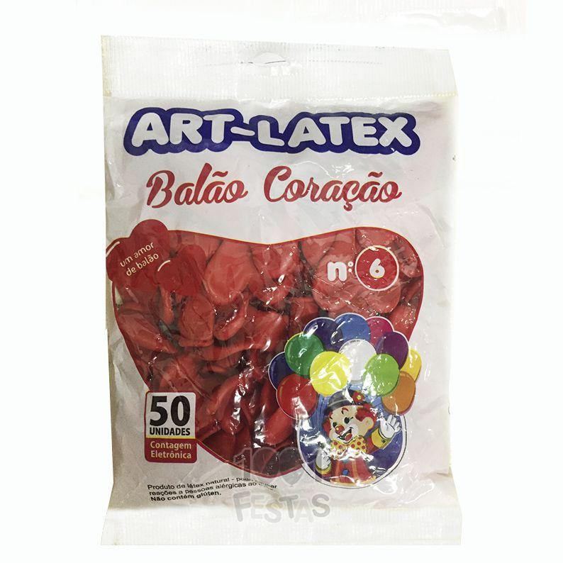 Balão Coração Vermelho Rubi N06 50 unid Art Latex