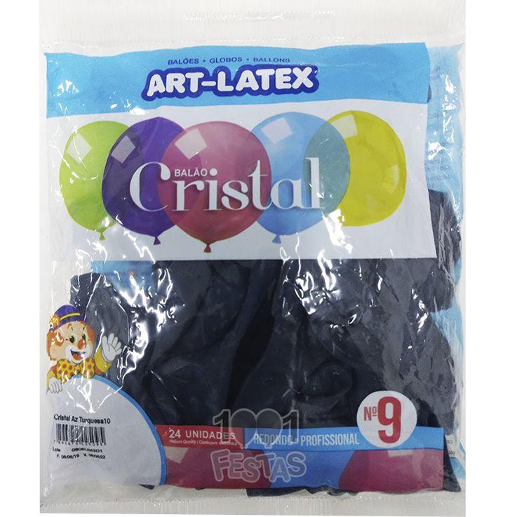 Balão Cristal Azul Turquesa 10 N09 24 unid Art Latex