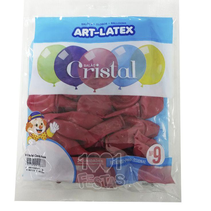 Balão Cristal Candy Rosa N09 24 unid Art Latex