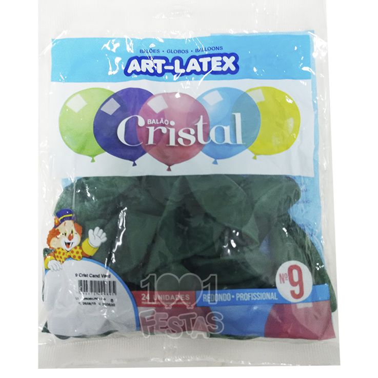 Balão Cristal Candy Verde N09 24 unid Art Latex