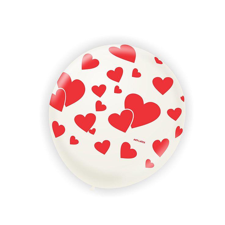 Balão  Cristal Coração Vermelho N11 25 unid Art-Latex