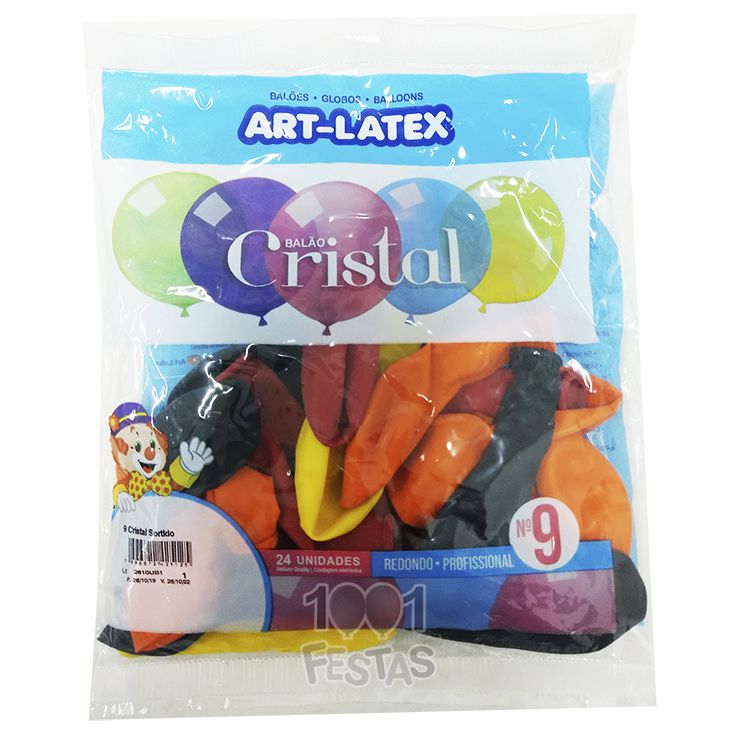 Balão Cristal Sortido N09 24 unid Art Latex