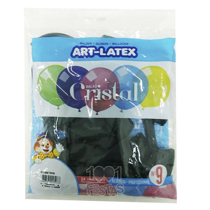 Balão Cristal  Verde N09 24 unid Art Latex
