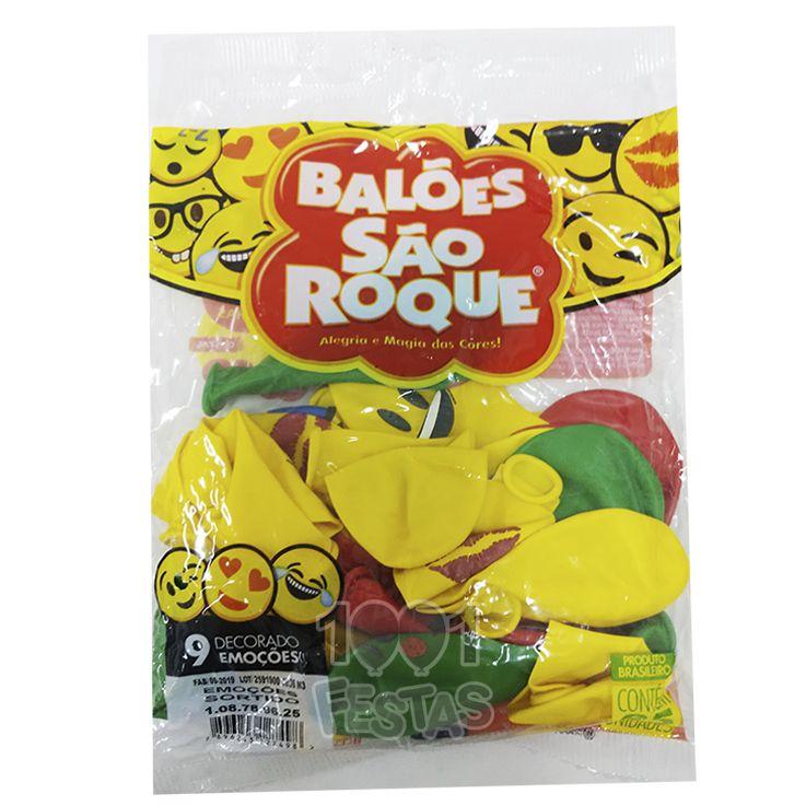 Balão  Emoções Sortido N09 25 unid São Roque
