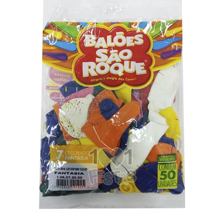 Balão Fantasia n 07 Sortido 50 unid São Roque