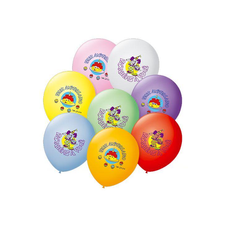 Balão Feliz Aniversário Sortido  N07 50 unid São Roque