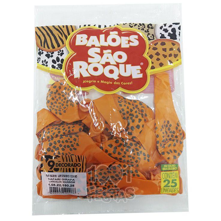 Balão Laranja Safari Girafa  Marrom N09 25 unid São Roque