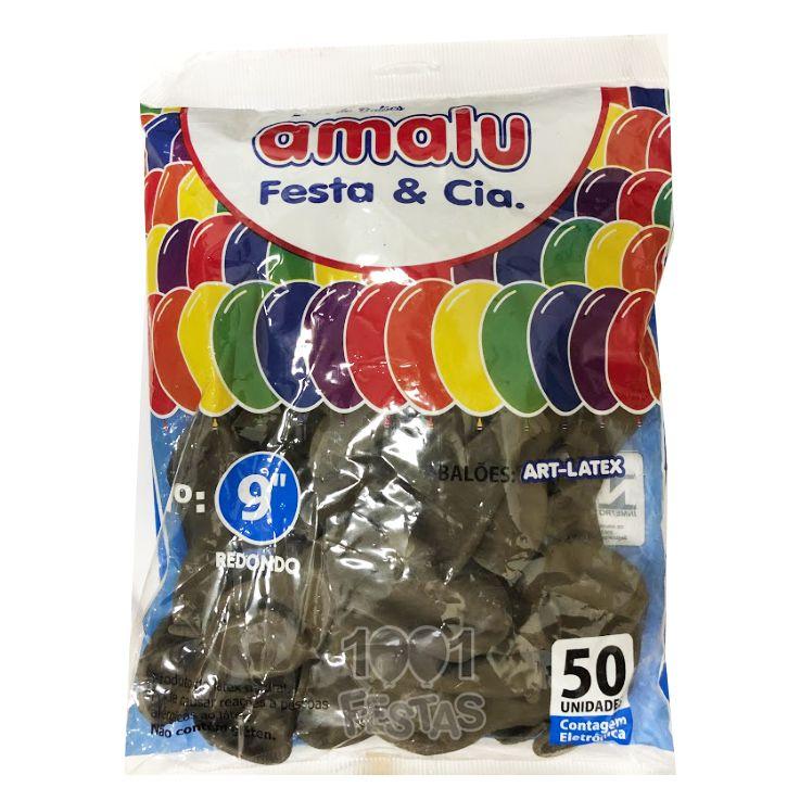 Balão Marrom N09 50 unid Amalu