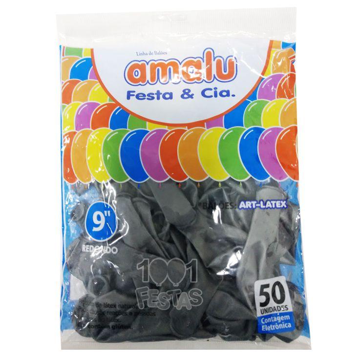 Balão Metalizado Prata N09  50 unid. Amalu
