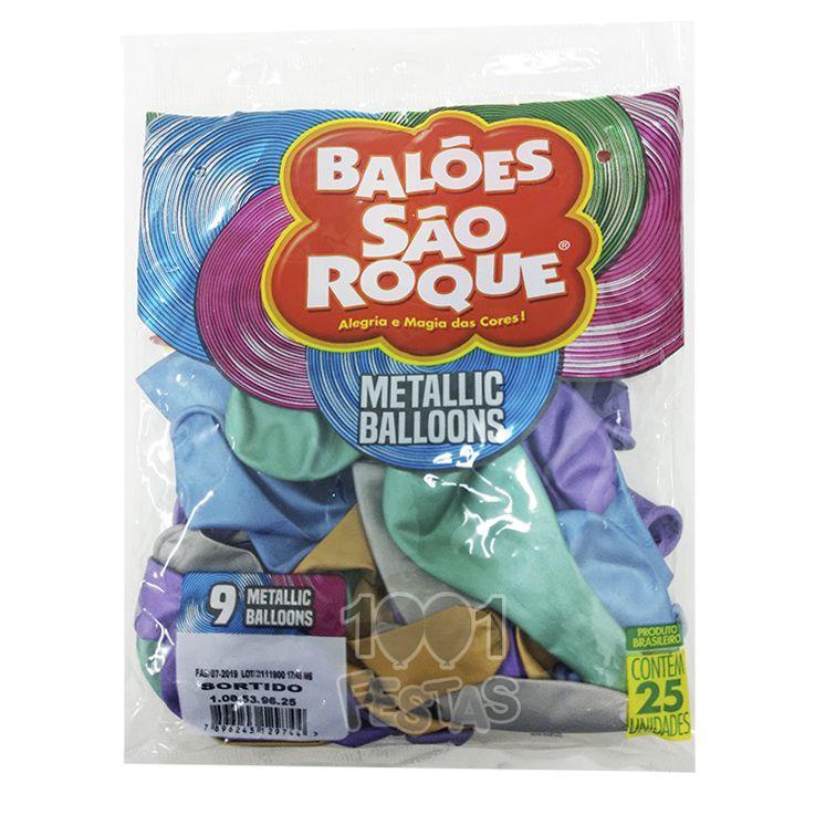 Balão Metallic Sortido N09 25 unid São Roque