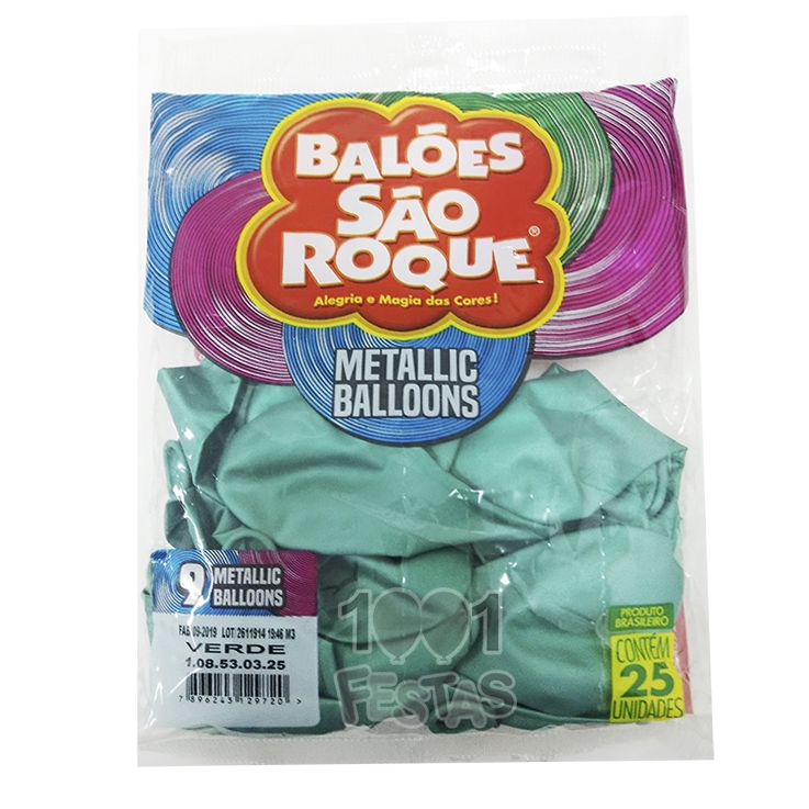 Balão Metallic Verde N09 25 unid São Roque