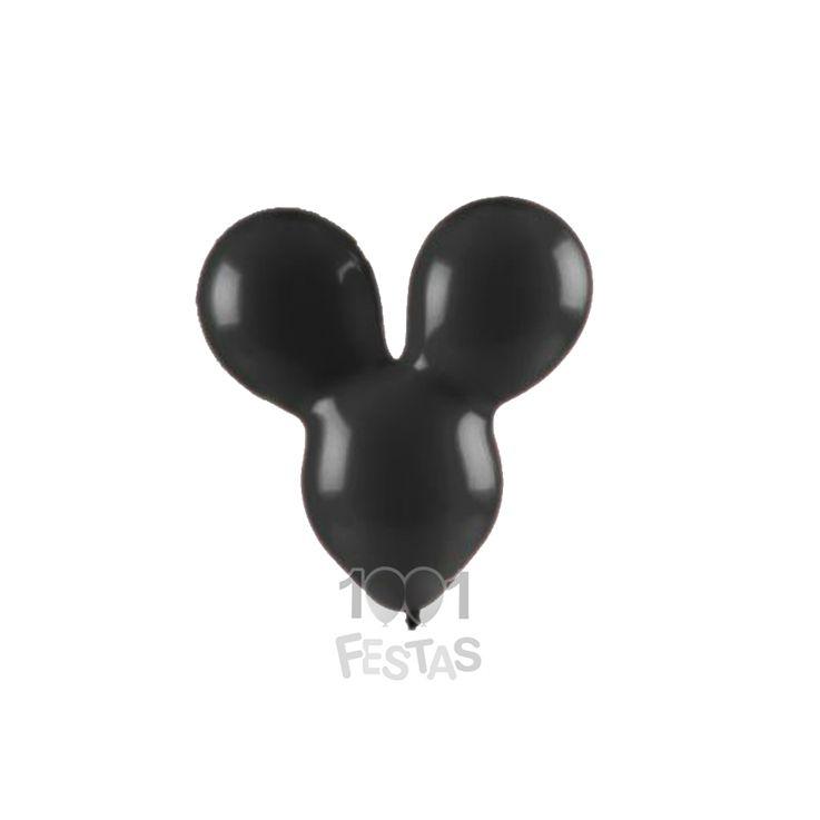 Balão Mouse Family Preto N10 12 unid Art Latex