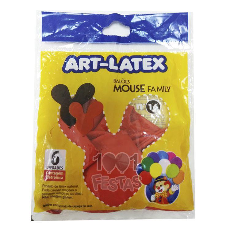 Balão Mouse Family Vermelho N16 06 unid Art Latex
