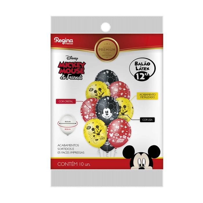 Balão N12 Premium Mickey c/10 unid Regina
