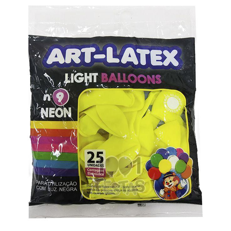 Balão Neon Amarelo N09 25 unid Art Latex