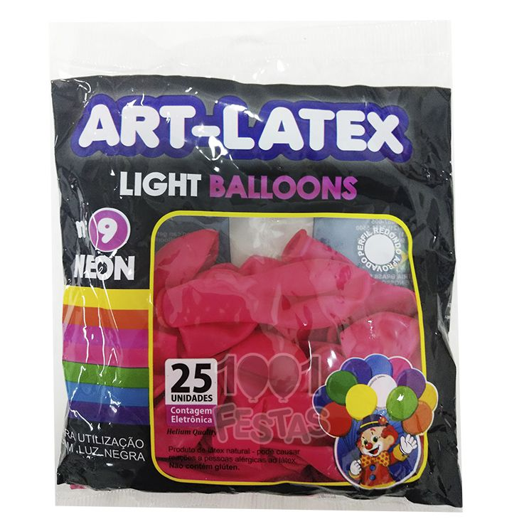 Balão Neon Magenta N09 25 unid Art Latex
