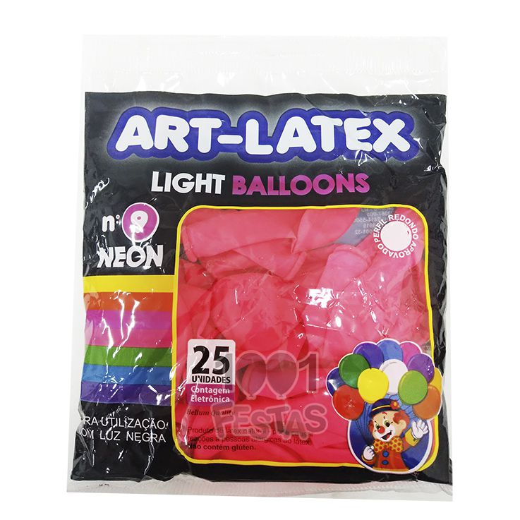 Balão Neon Pink N09 25 unid Art Latex
