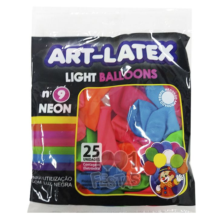 Balão Neon SortidoN09 25 unid Art Latex