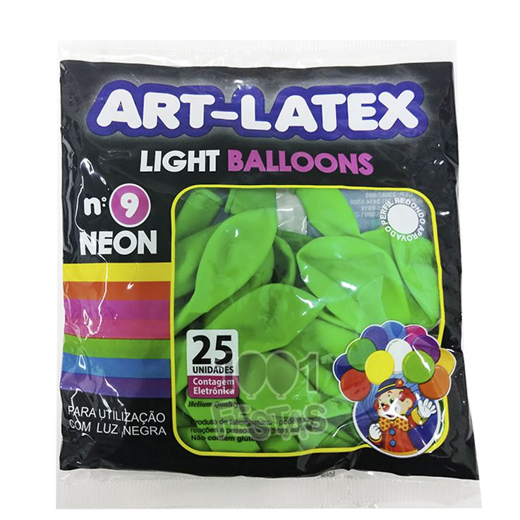 Balão Neon Verde N09 25 unid Art Latex