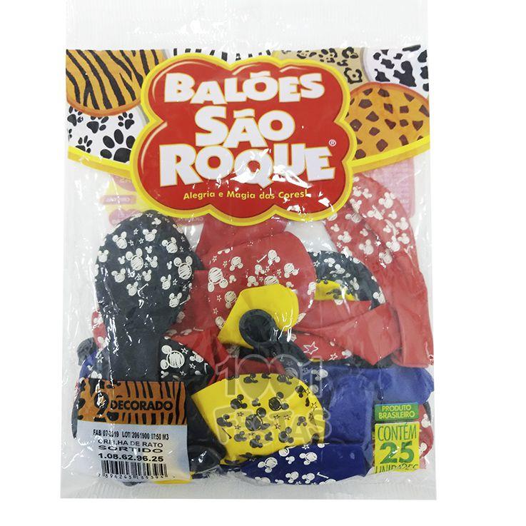 Balão Orelha Ratinho Sortido N09 25 unid São Roque