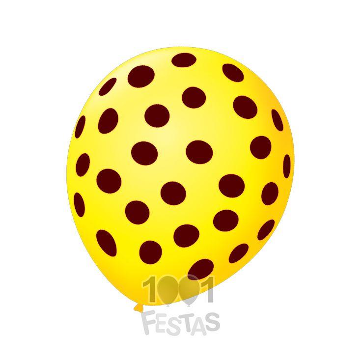 Balão Poá Amarelo Sol  Marrom 25 unid São Roque