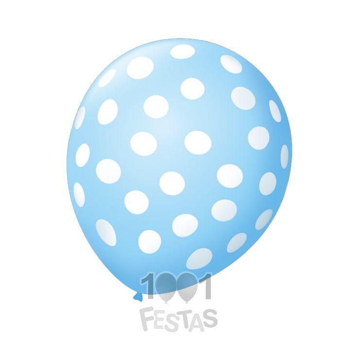 Balão Poá Azul Baby Bolinhas Brancas N9 25 unid São Roque