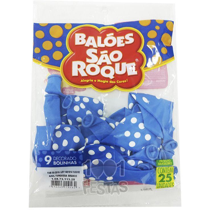 Balão Poá Azul Turquesa Bolinhas Brancas N09 25 unid São Roque