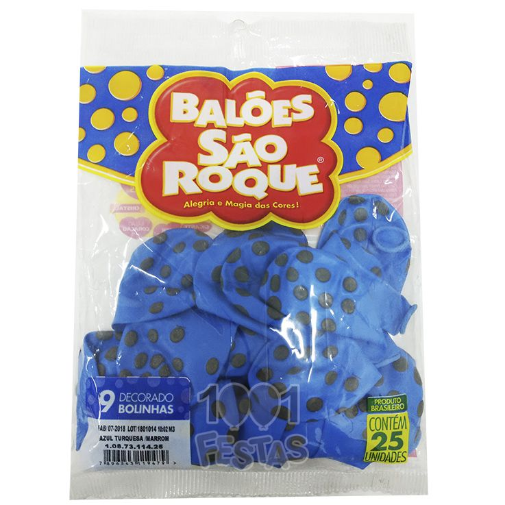 Balão Poá  Azul Turquesa Bolinhas  Marrom N09 25 unid São Roque
