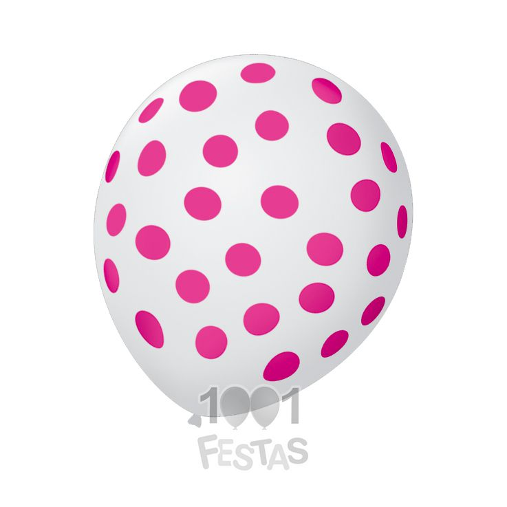 Balão Poá  Branco Bolinhas Rosas N09 25 unid São Roque