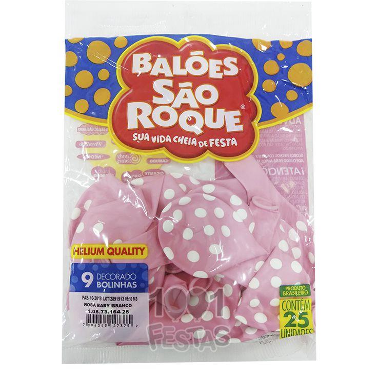 Balão Poá Rosa Baby Bolinhas Brancas N9 25 unid São Roque