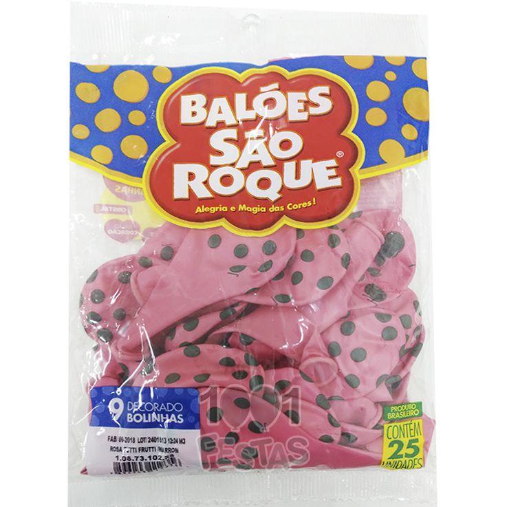 Balão Poá Rosa Tutti Frutti Bolinhas Marrom N09 25 unid São Roque