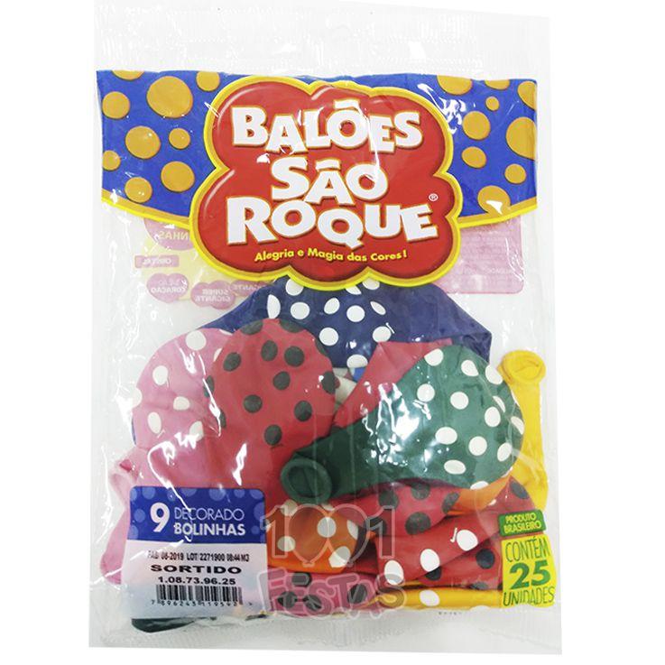Balão Poá  Sortido  N09 25 unid São Roque