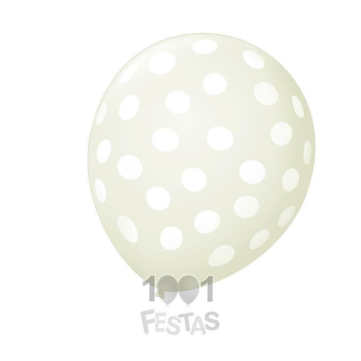 Balão Poá Transparente  Bolinhas Brancas  N09 25 unid São Roque