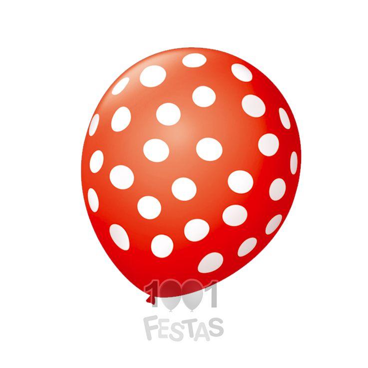 Balão Poá  Vermelho Bolinhas Brancas  N09 25 unid São Roque